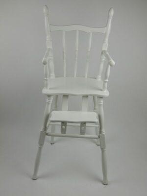 Houten Retro Kinderstoel Verstelbare Voetensteun - Wit