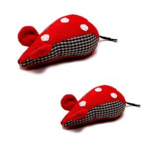 Fabs world Knuffelmuis - Rood - Zwart (2 stuks)