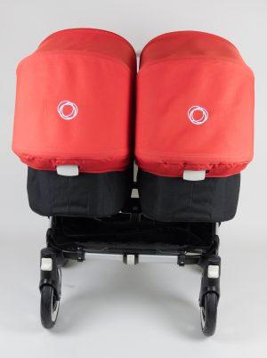 Bugaboo® Donkey Twin Kinderwagen - Zwart - Rood